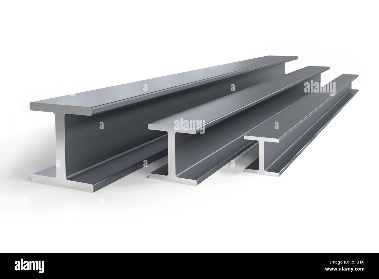 Thee steel I-beams of different size -  3D rendering Stock Photo