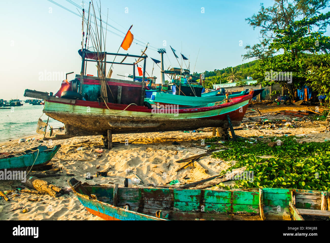 Traditional boats in Fishing village at port, Phu Quoc island in Vietnam - Stock Image