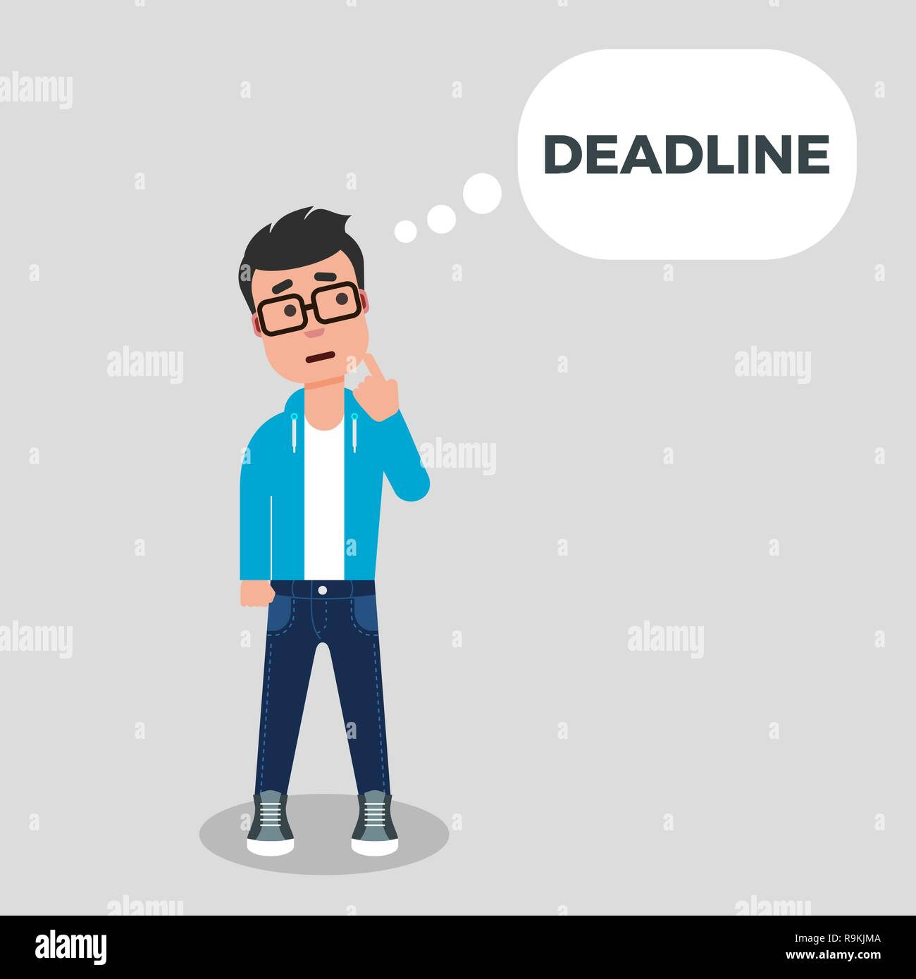 Young man thinking about deadline. Deadline concept. Creative crisis. Character is standing with finger on his chin and speech bubble above his head. - Stock Vector