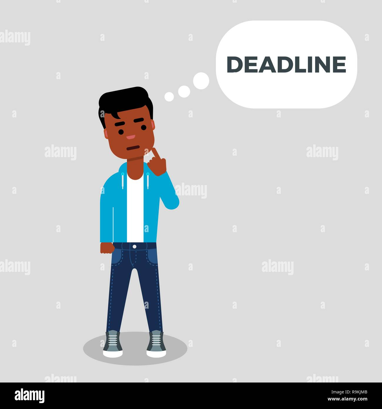Young African American thinking about deadline.Deadline concept. Creative crisis. Character is standing with finger on his chin - Stock Vector