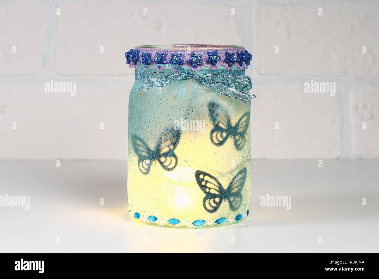 Diy Fairy Jar On White Brick Wall Background Gift Ideas Decor St February 14 Valentines Day Love Wedding Handmade Lamp Night Light Lantern Fro Stock Photo Alamy