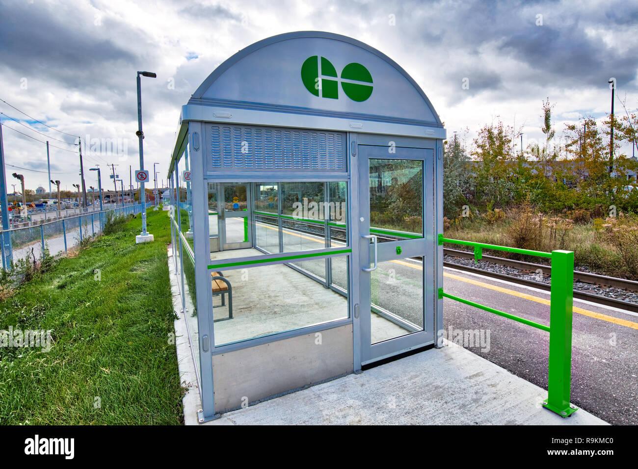 Toronto, Canada-20 November, 2018: Go Train Stations, a regional public transit system serving the Greater Golden Horseshoe region of Ontario Stock Photo