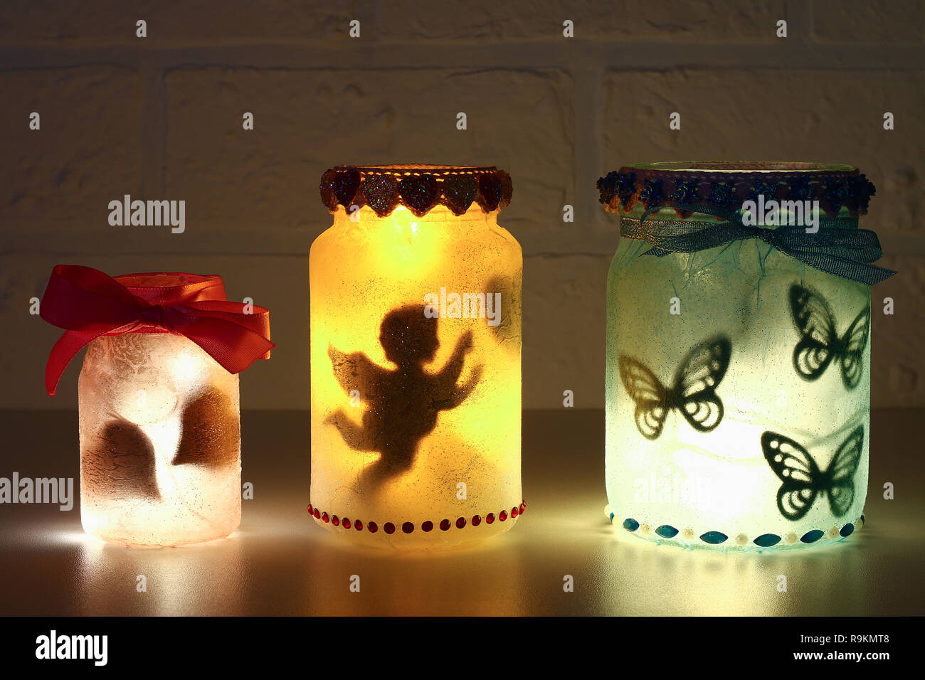 Diy Fairy Jar On White Brick Wall Background Gift Ideas Decor St February 14 Valentines Day Love Wedding Handmade Lamp Night Light Lantern Fro Stock Photo Alamy
