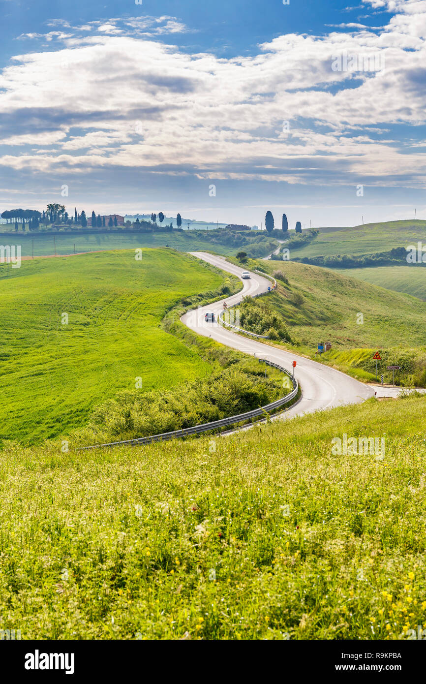 Winding Country Road In Rural Italian Landscape Stock Photo