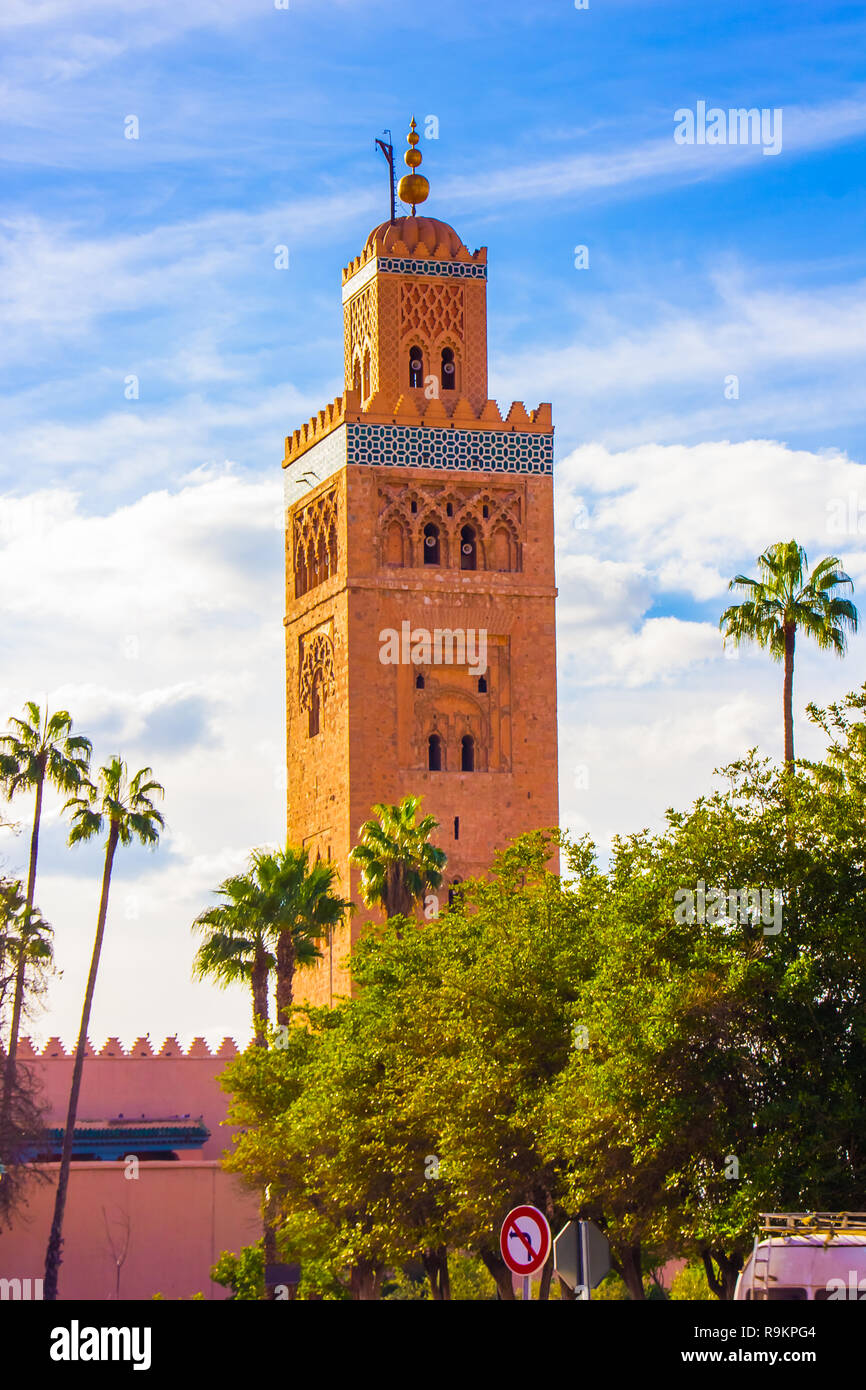 Djemaa el-fna Mosque, Marrakesh, Morocco in Africa Stock Photo