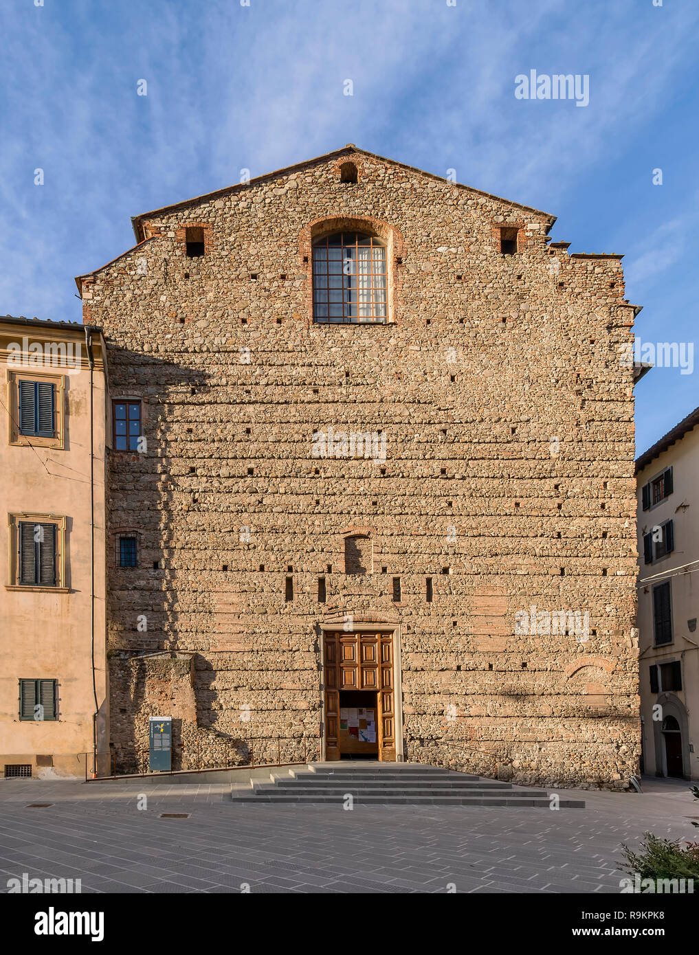 The facade of the Church of the Spirito Santo, or of Sant'Ignazio in the historic center of Pistoia, Tuscany, Italy - Stock Image