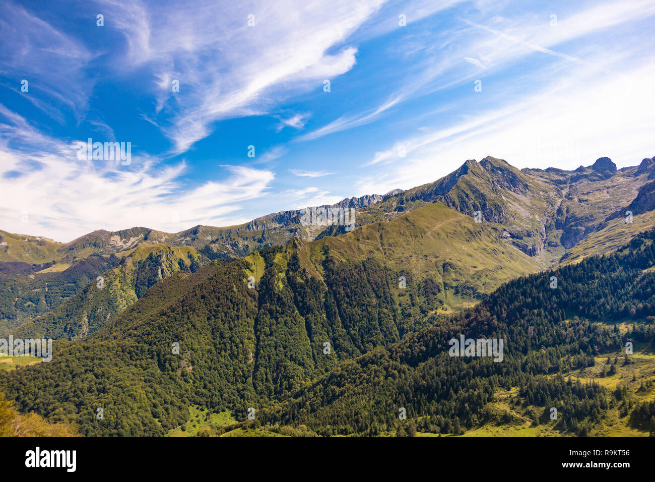 Landscape, view of the slopes and mountains around the ski resort Guzet-snow in summer. Couserans-Pyrenees, Ustou Valley, Ariège, Occitanie, France. Stock Photo