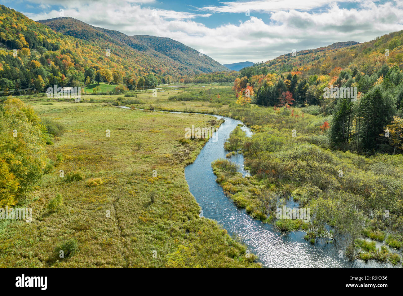 Ottaqueche River, Green Mountain National Forest, Woodstock, Vermont - Stock Image