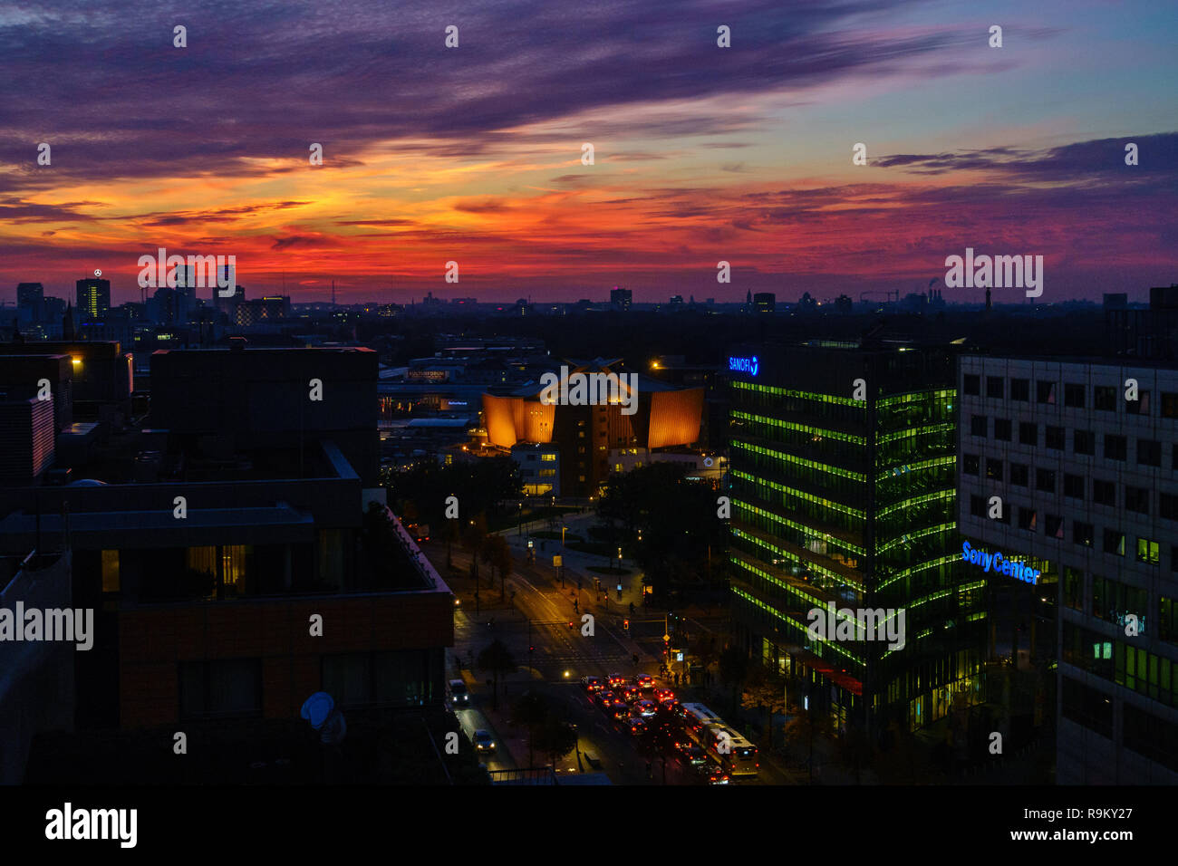 Spectacular sunset over the philharmonic orchestra hall in Berlin, Germany. Stock Photo
