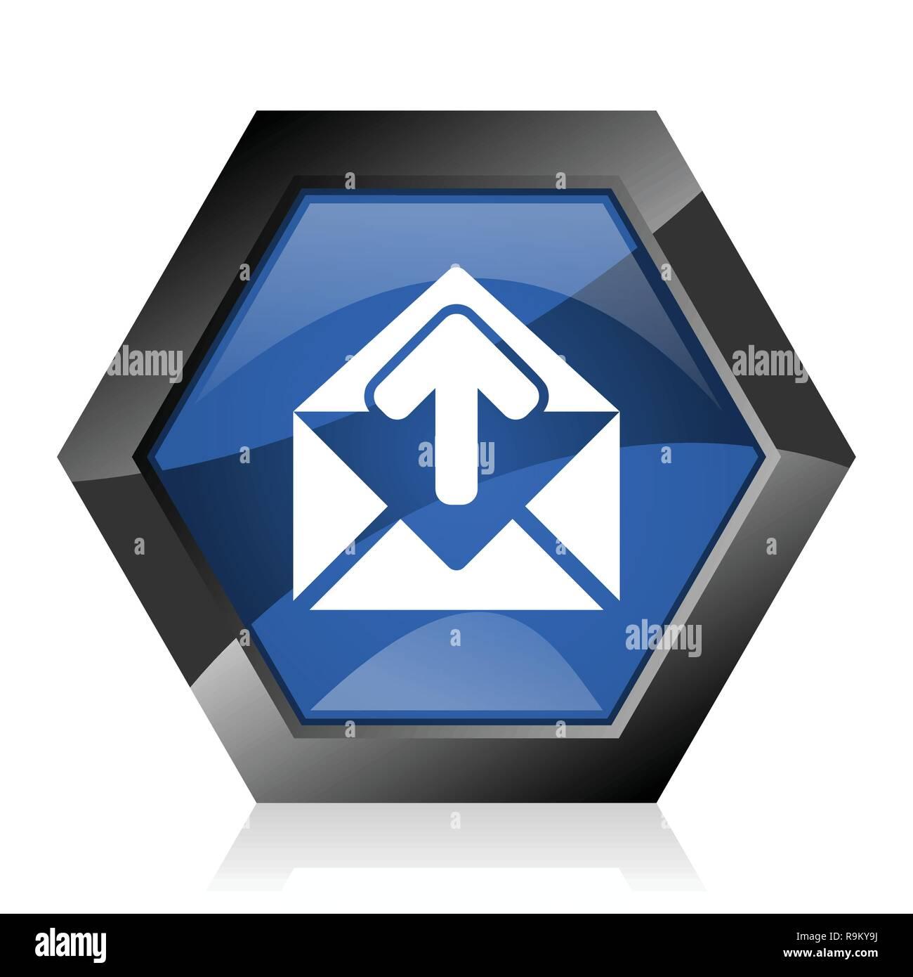 Email dark blue glossy hexagon geometric diamond vector web icon with reflection on white background. Modern design hexagonal internet button. - Stock Image