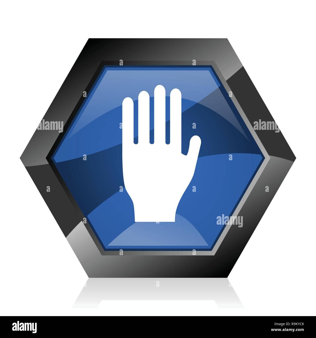 Stop dark blue glossy hexagon geometric diamond vector web icon with reflection on white background. Modern design hexagonal internet button. - Stock Image