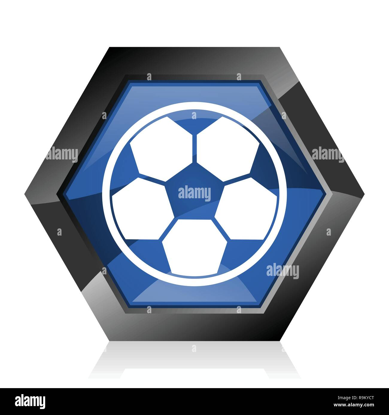 Soccer dark blue glossy hexagon geometric diamond vector web icon with reflection on white background. Modern design hexagonal internet button. - Stock Vector