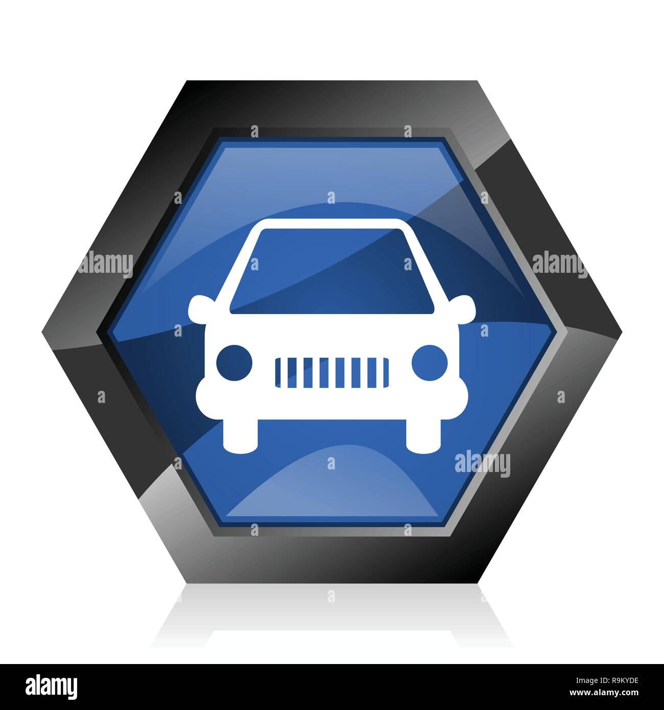 Car dark blue glossy hexagon geometric diamond vector web icon with reflection on white background. Modern design hexagonal internet button. - Stock Image