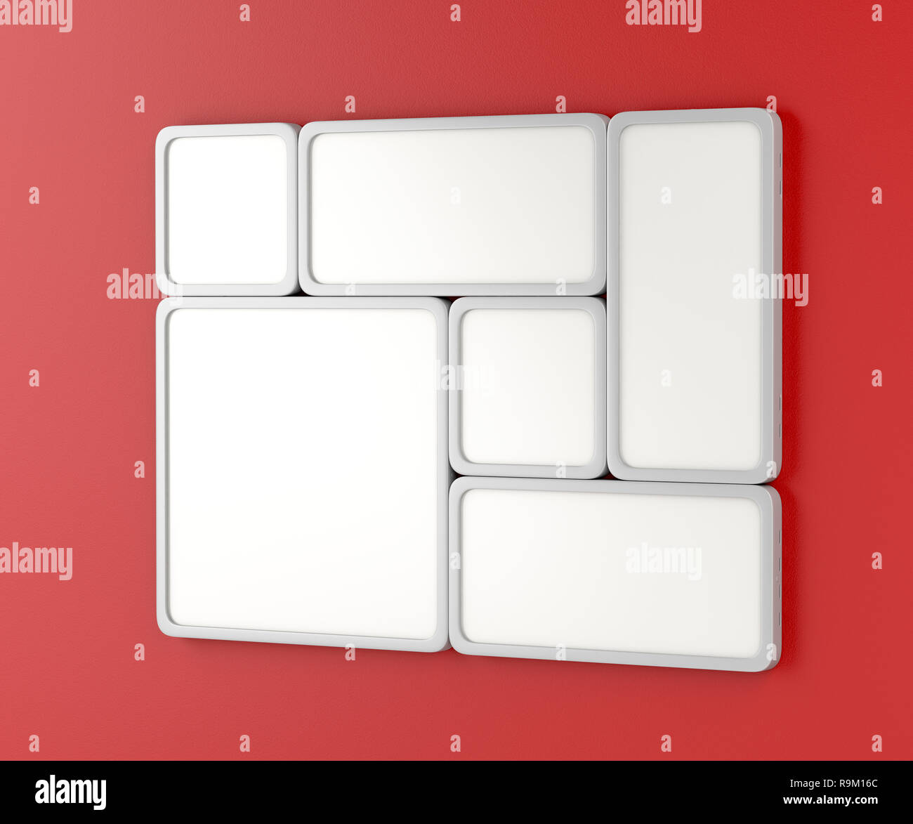 White blank led panels on the red wall - Stock Image