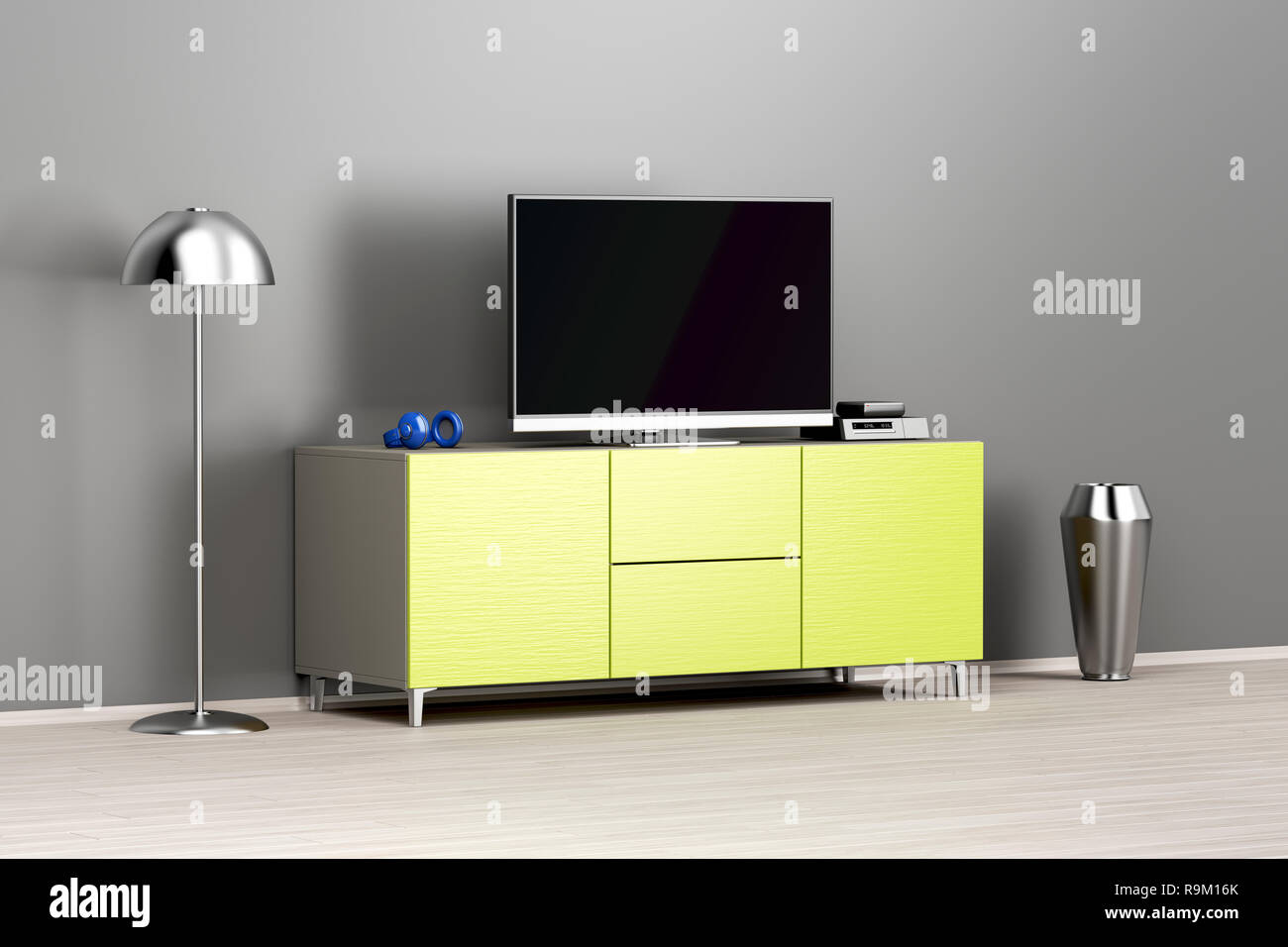 Flat Screen Tv On Modern Tv Stand In The Living Room Stock Photo Alamy
