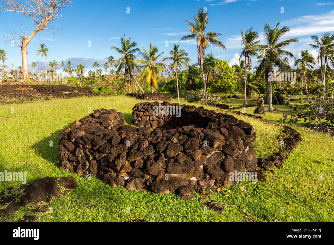 Talietumu (Kolo Nui), archaeological site in Uvea (Wallis) island, Wallis and Futuna, Oceania. A fortified Tongan settlement (Tongan fort). - Stock Image