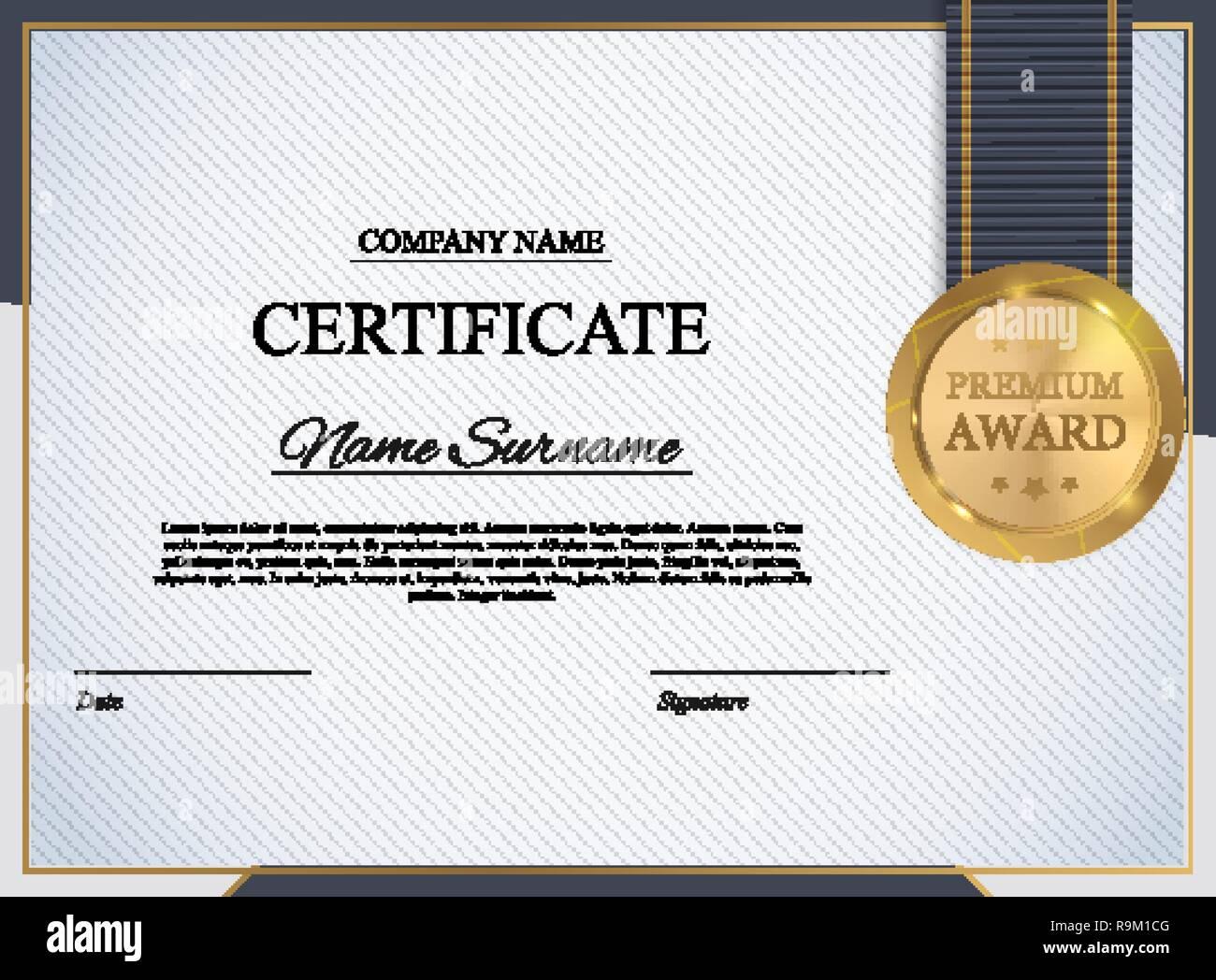 Certificate Template Background Award Diploma Design Blank Vector