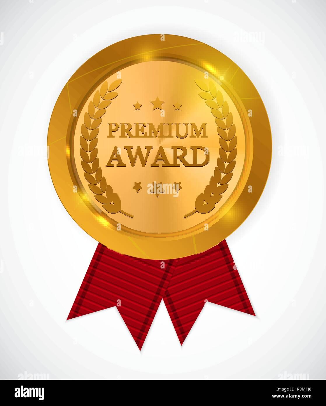Premium Award Gold Medal  Vector Illustration EPS10 Stock