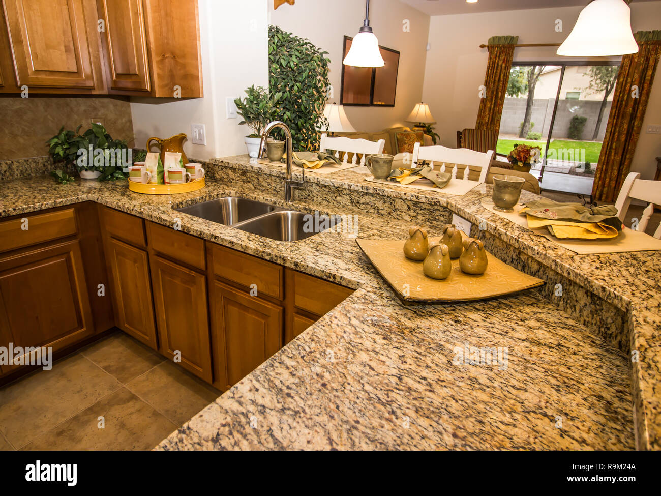 Surprising Granite Counter Kitchen With Place Settings And Bar Stools Alphanode Cool Chair Designs And Ideas Alphanodeonline