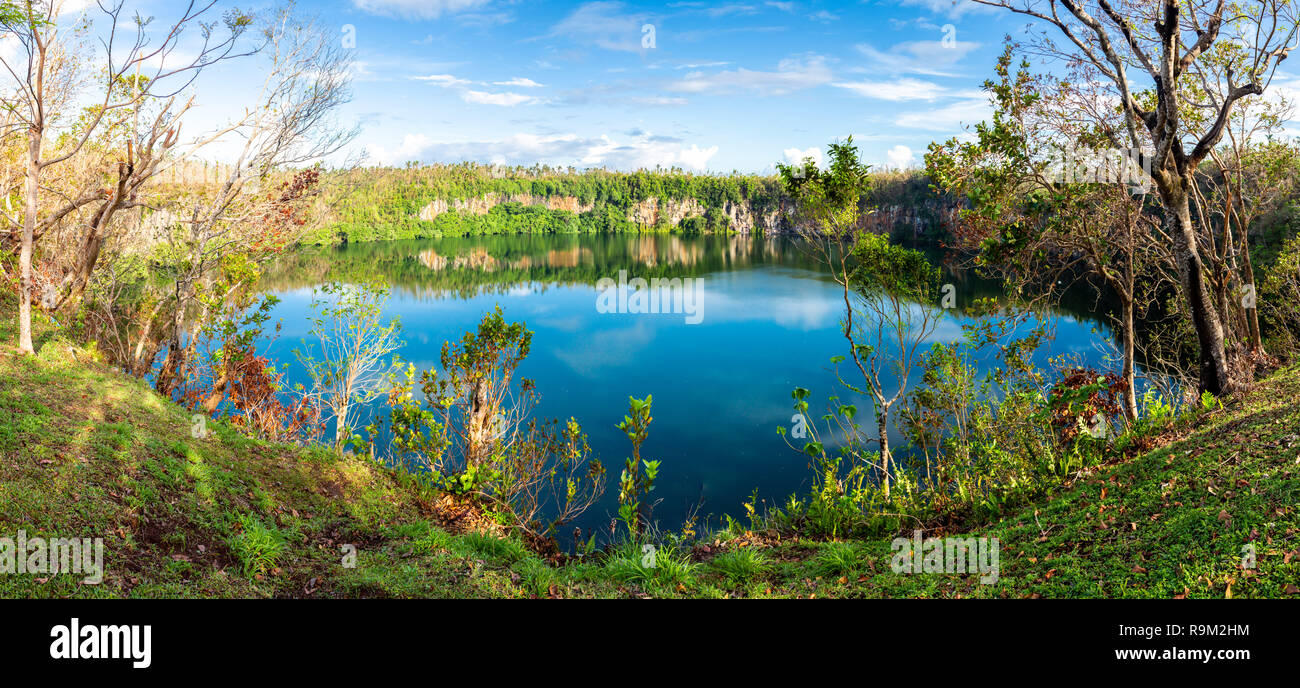 Spectacular volcanic crater lake Lalolalo in the island of Uvea (Wallis), Wallis and Futuna (Wallis-et-Futuna), Polynesia, Oceania, South Pacific. - Stock Image