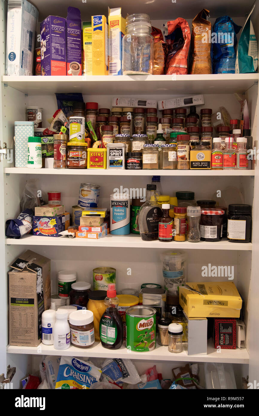 Kitchen Cupboard With Cooking Ingredients Australia Stock Photo Alamy