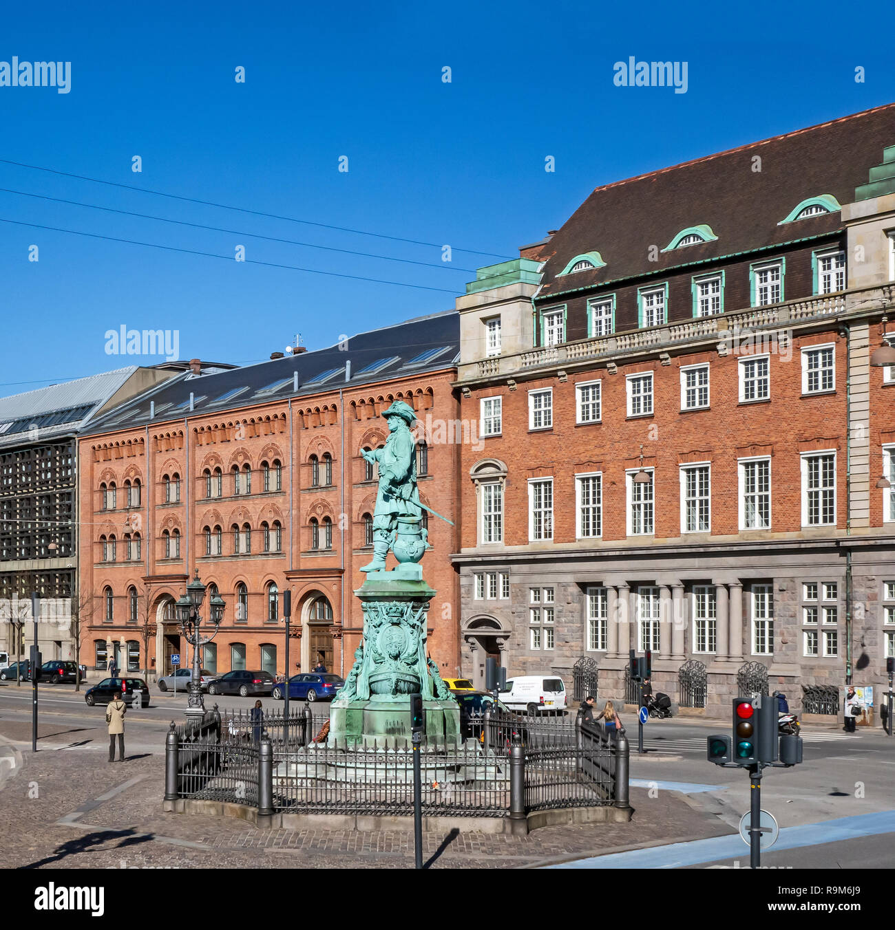Statue of danish - norwegian admiral Niels Juel at Holmens Kanal in central Copenhagen Denmark Europe - Stock Image