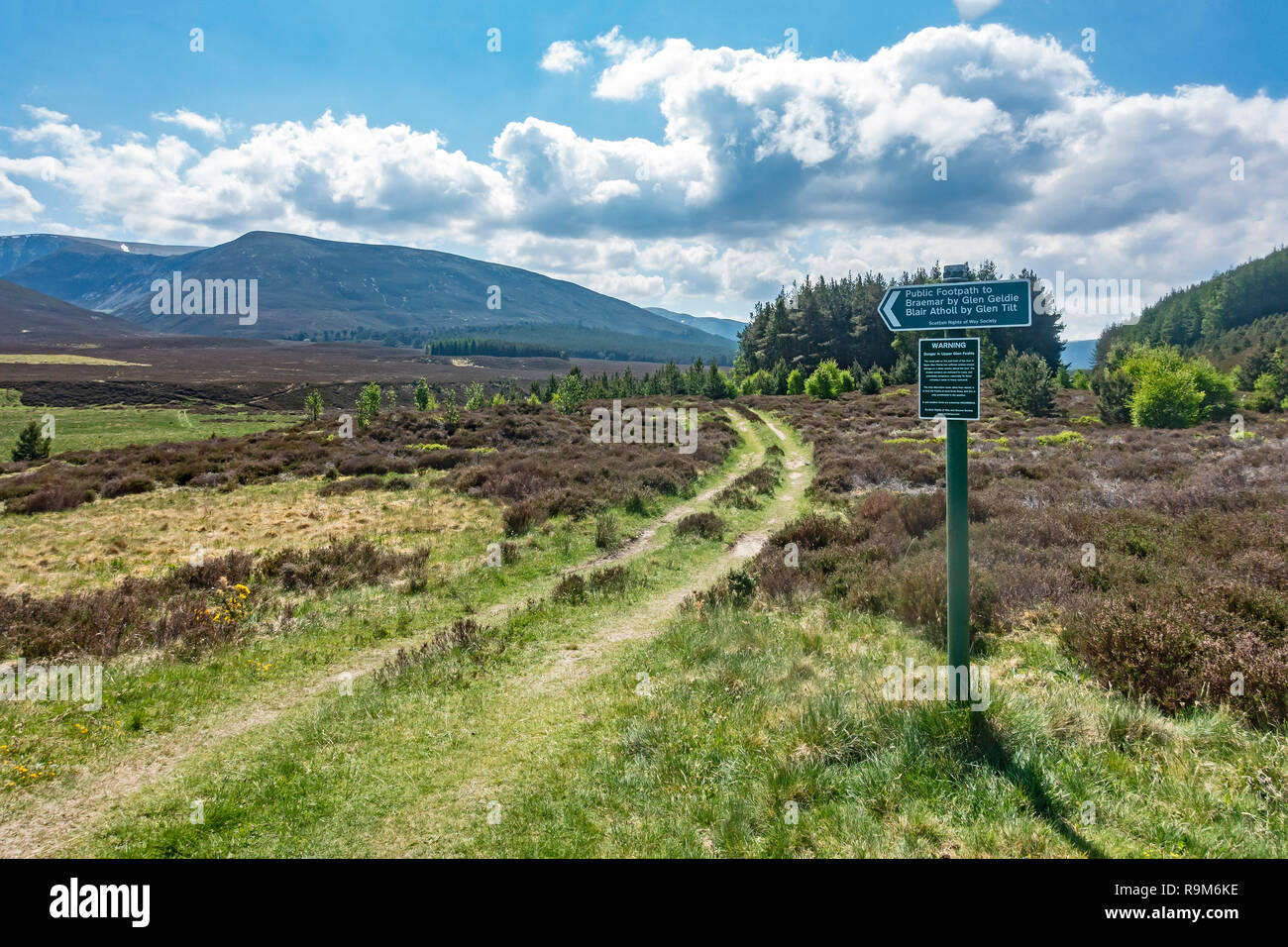 Scottish Rights of Way Society sign in Glen Feshie near Feshiebridge Highland Scotland indicating public footpaths to Braemar & Blair Atholl - Stock Image