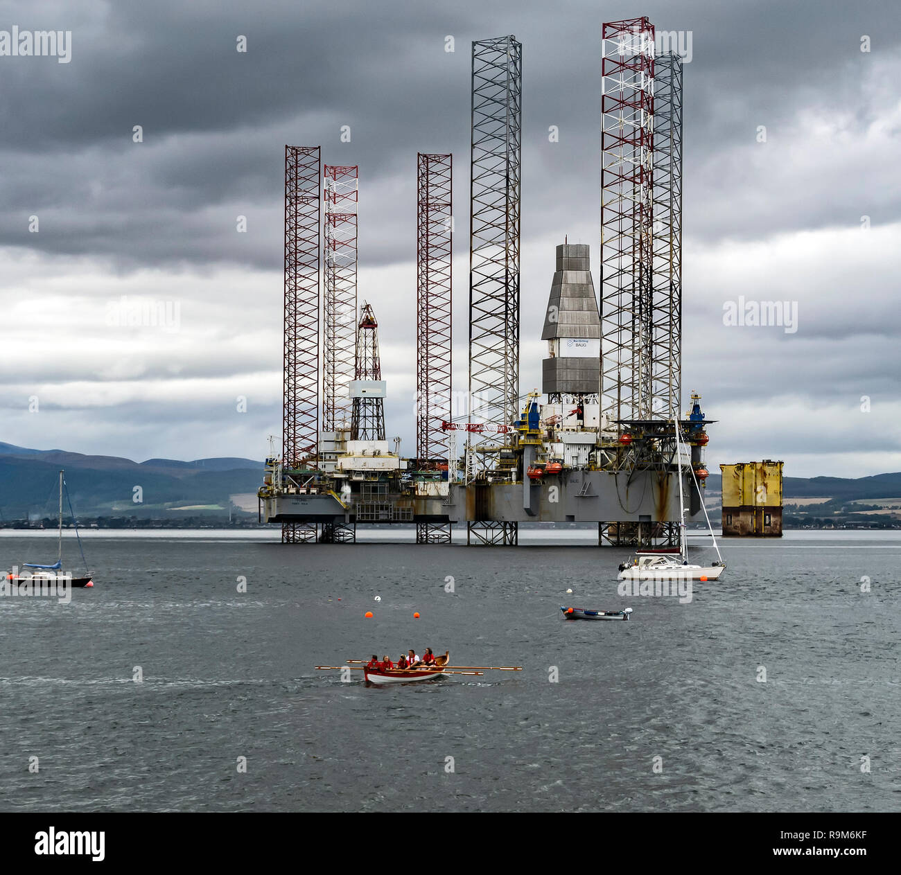 Bor Drilling owned drilling rigs Fonn & Baug moored in Cromarty Firth outside Cromarty in Highland Scotland UK - Stock Image