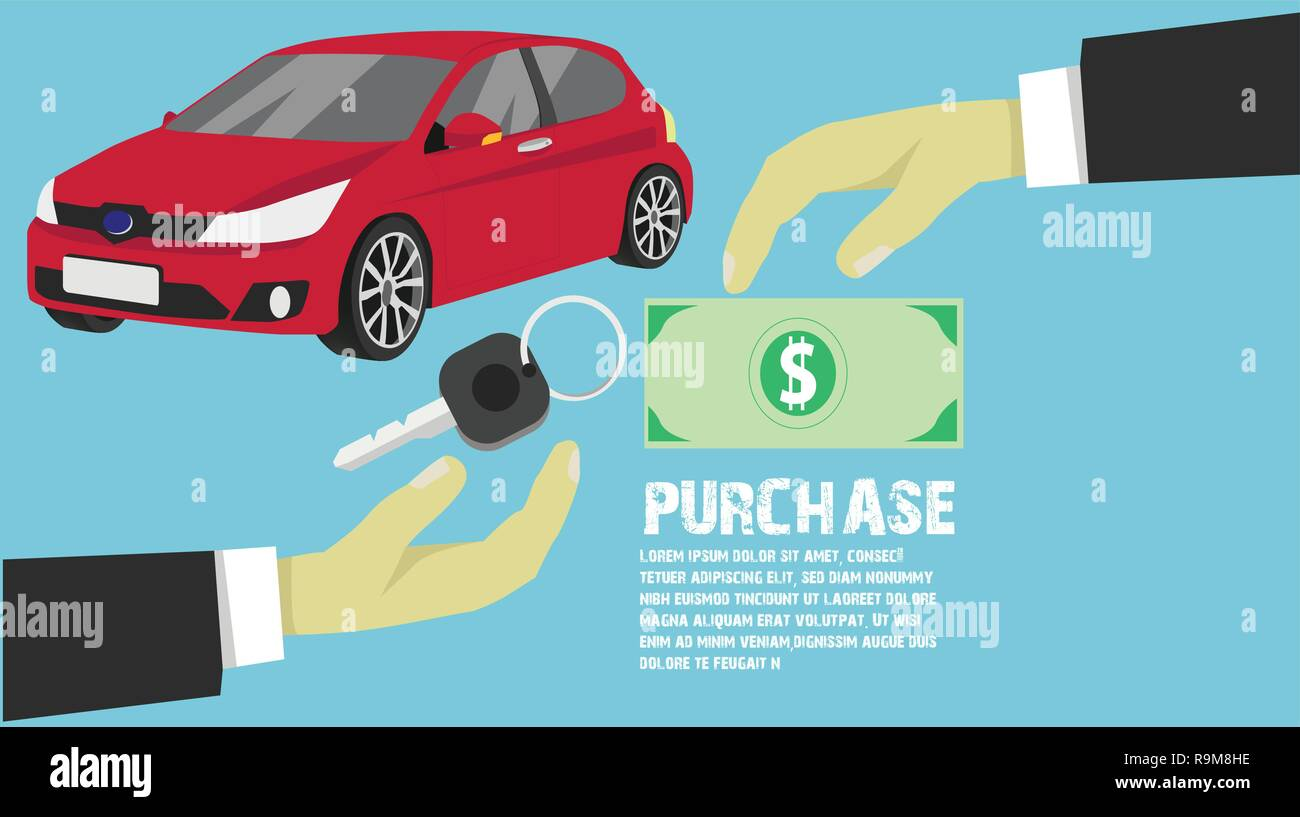 Happy business purchase new car for Give as a big gift on New Year's Day. The arms stood to exchange money with the keys. - Stock Image