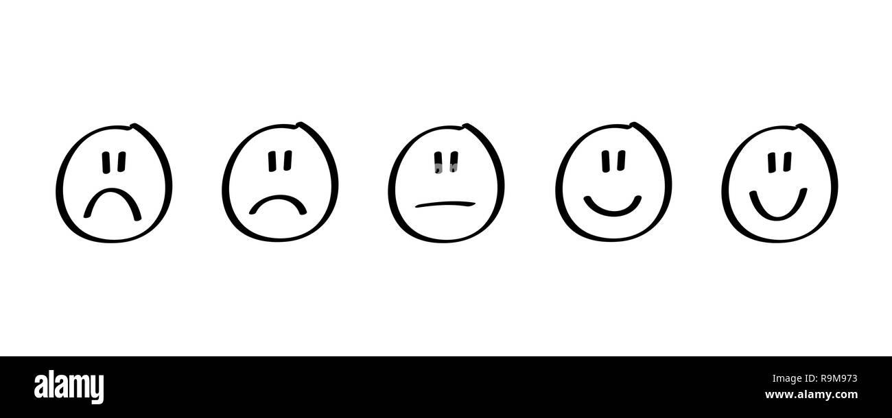 handdrawn black rating satisfaction feedback in form of emotions vector illustration - Stock Vector