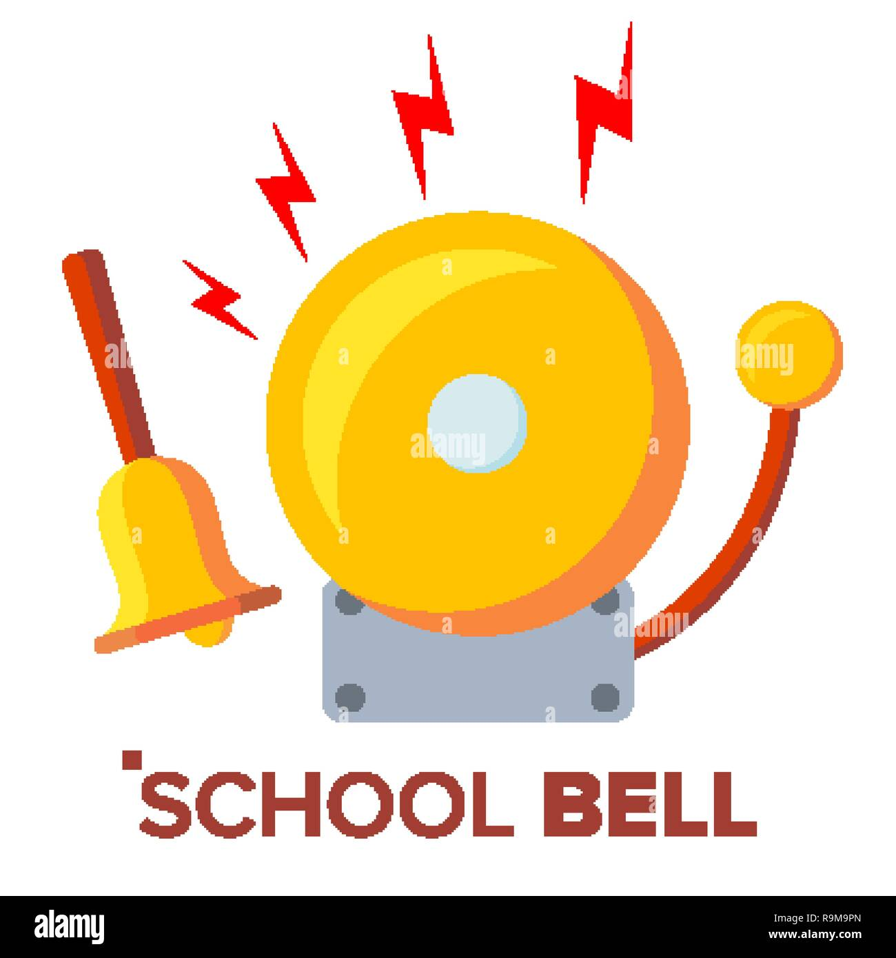 School Bell, Ring Vector. Ringing Classic Electric Bell And Hand Gold Metal Ring Isolated Cartoon Illustration - Stock Image