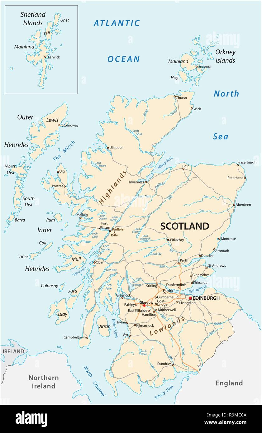 High detailed Scotland road map with labeling - Stock Vector