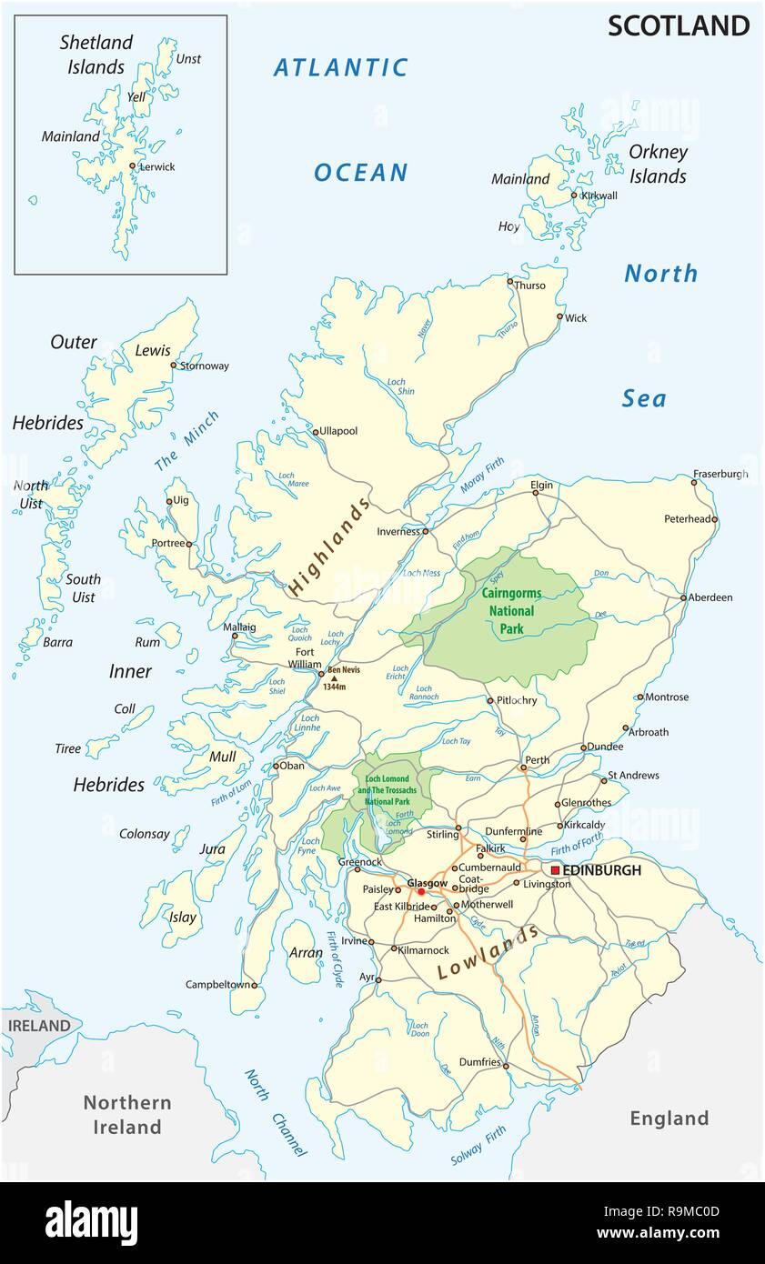 High detailed Scotland road and nationalpark map with labeling - Stock Vector