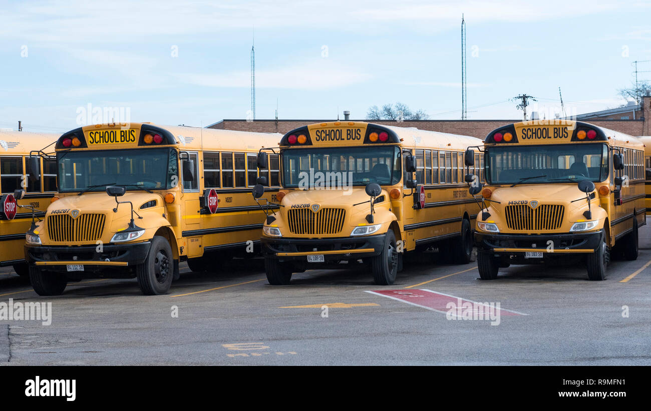 Chicago Usa 25 December 2018 A Fleet Of First Student School Buses Are Parked Up For