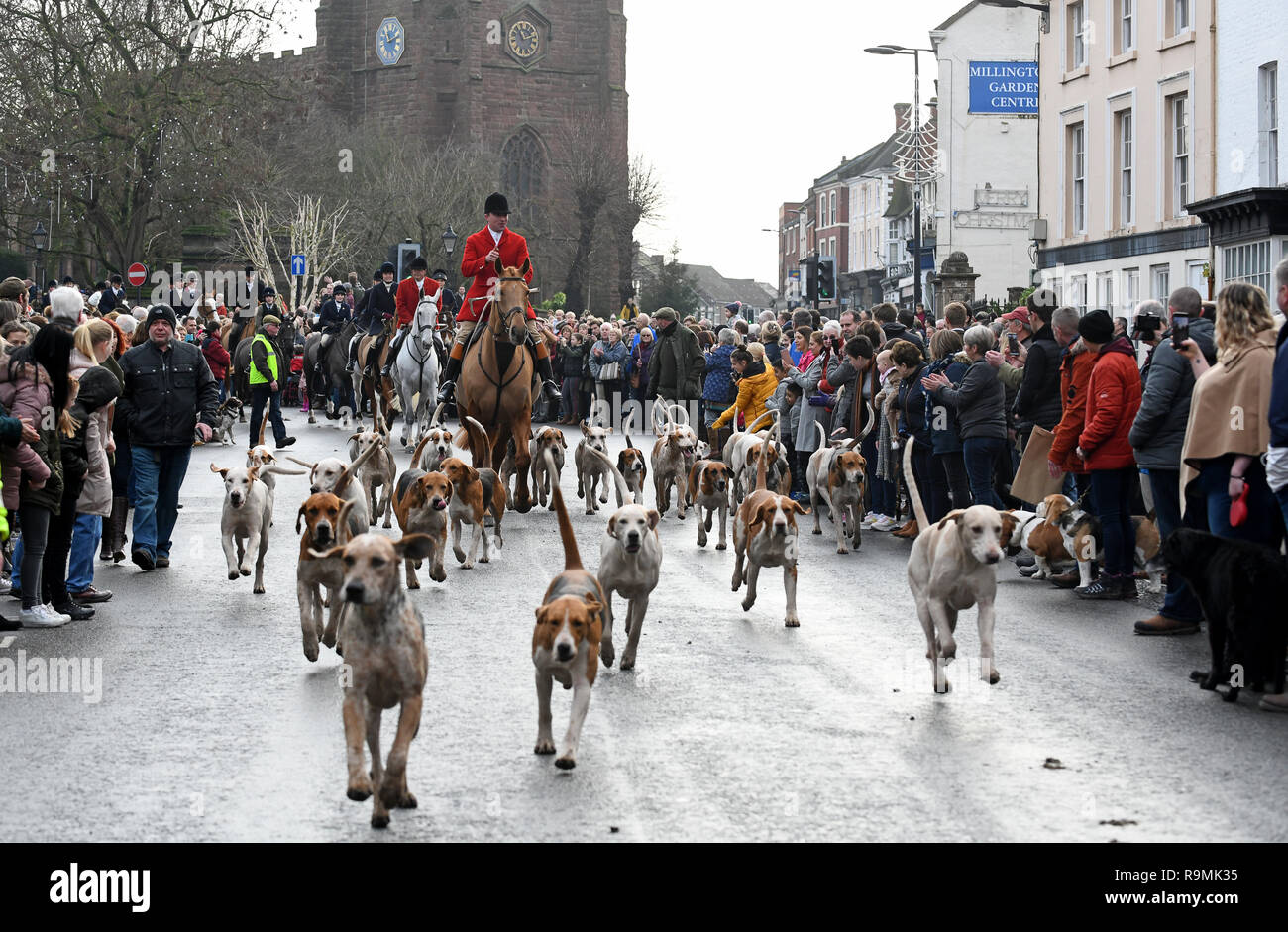Newport, Shropshire, UK. 26th December, 2018. Albrighton Hunt Boxing Day meet in Newport Credit: David Bagnall/Alamy Live News - Stock Image
