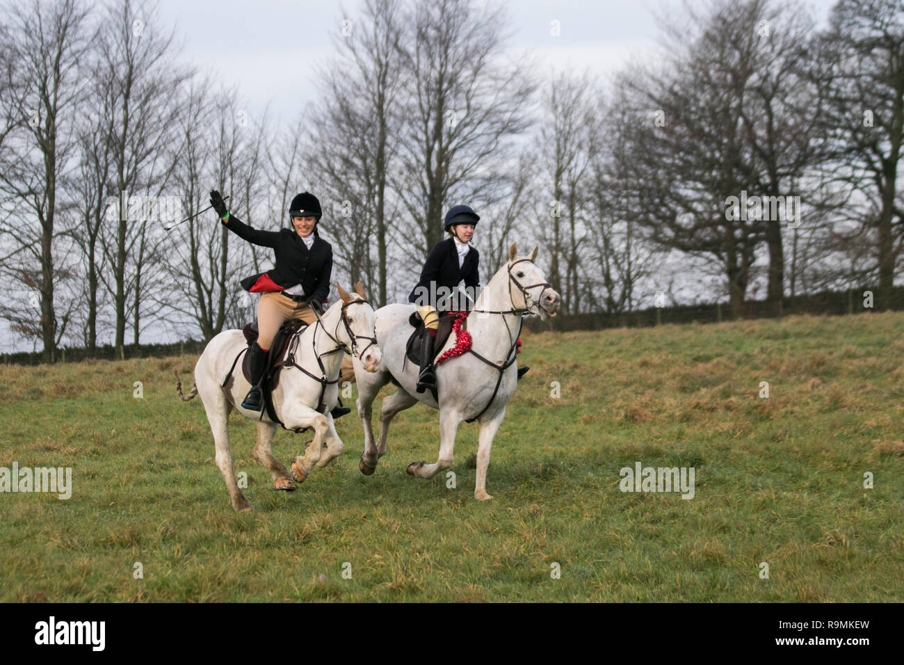 Chorley, Lancashire, UK. 26th Dec. 2018. Boxing day Hunt at Rivington. Horses and hounds returned to Rivington for Holcombe Hunt's traditional Boxing Day meet. Hundreds of spectators gathered to support the ride out, as they set off for a three-hour ride following the sound of the horn.  Hunting live quarry with dogs was banned in 2004, after the Speaker of the Commons invoked the Parliament Act to force the legislation through. The Holcombe Hunt holds meets across the whole of Lancashire, but their Boxing Day gathering is traditionally held at Rivington. Credit: MediaWorldImages/Alamy Live Ne - Stock Image