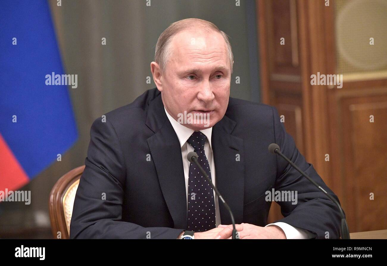 Moscow, Russia. 26th December, 2018. Russian President Vladimir Putin during the year end meeting with government leaders and officials at the Kremlin December 26, 2018 in Moscow, Russia. Credit: Planetpix/Alamy Live News - Stock Image