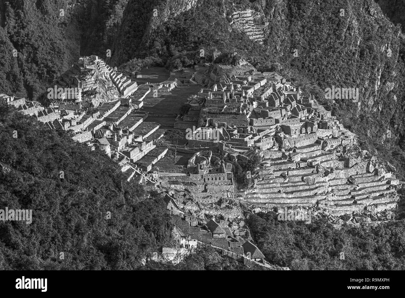 View of the Lost Incan City of Machu Picchu near Cusco, Peru. Machu Picchu is a Peruvian Historical Sanctuary and a UNESCO World Heritage Site. Machu  - Stock Image