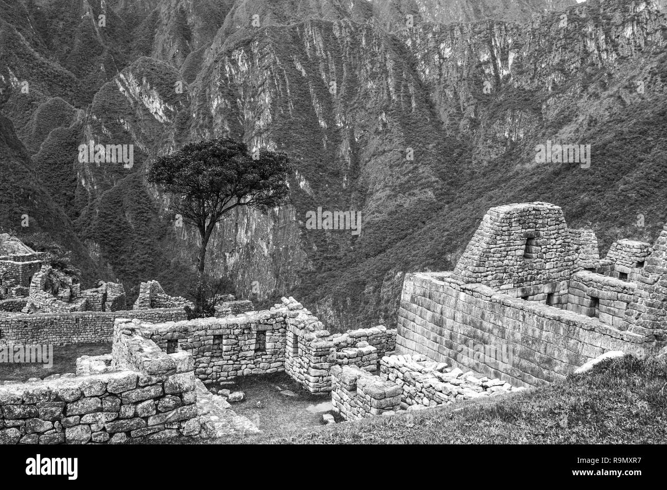 Machu Picchu, Peru. The ancient Inca city, located on Peru at the mountain an altitude of 2,450 metersl, dominating the valley of the Urubamba River.  - Stock Image