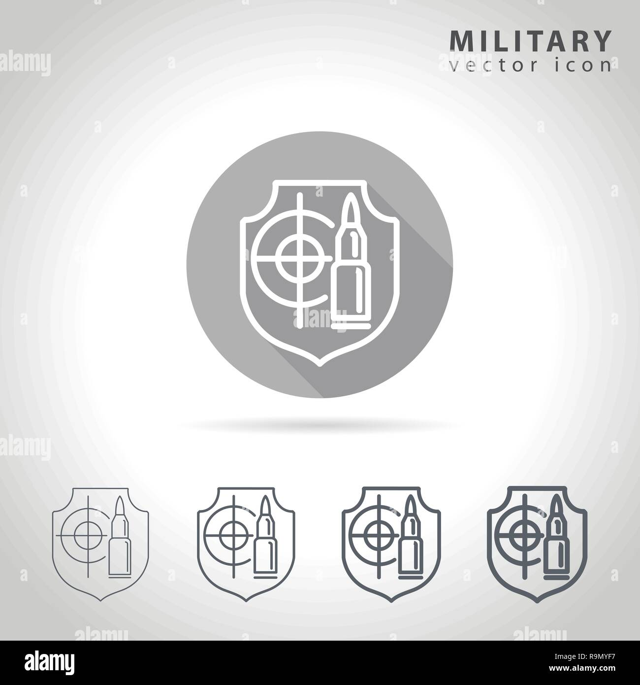 Military outline icon set, collection of bullet, target and army