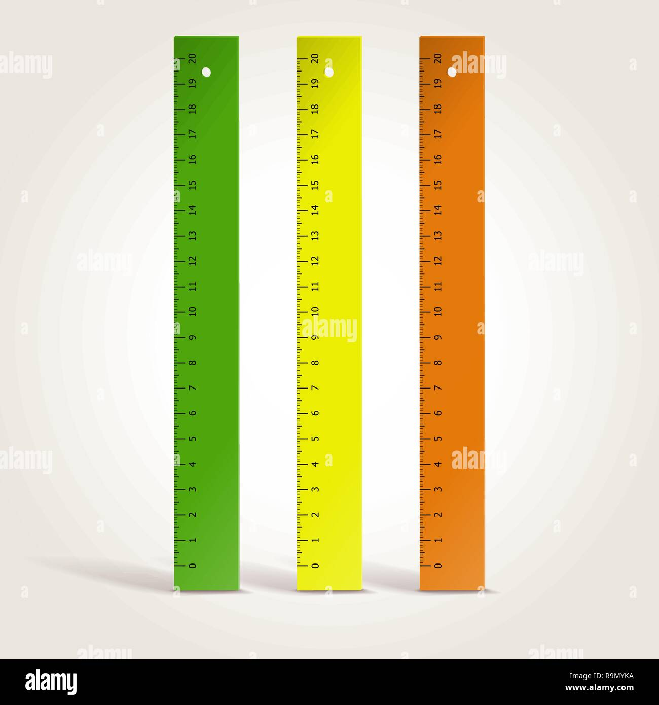 Set of colorful school rulers isolated on white, vector illustration - Stock Vector