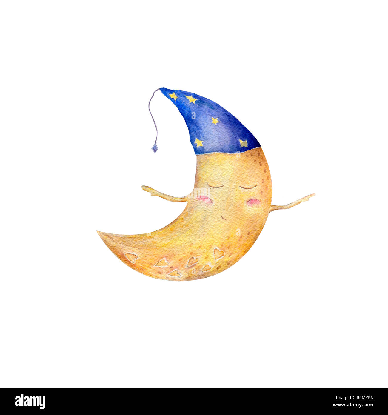 Moon watercolor clip art yellow moon funny character fly moon painting illustration half moon sleeping moon in hat geometric on white background. - Stock Image