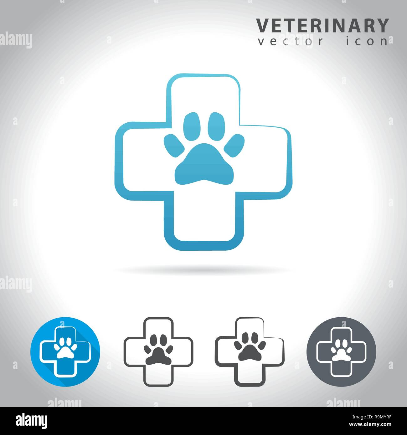 Veterinary icon set, collection of pet health icons, vector illustration - Stock Image