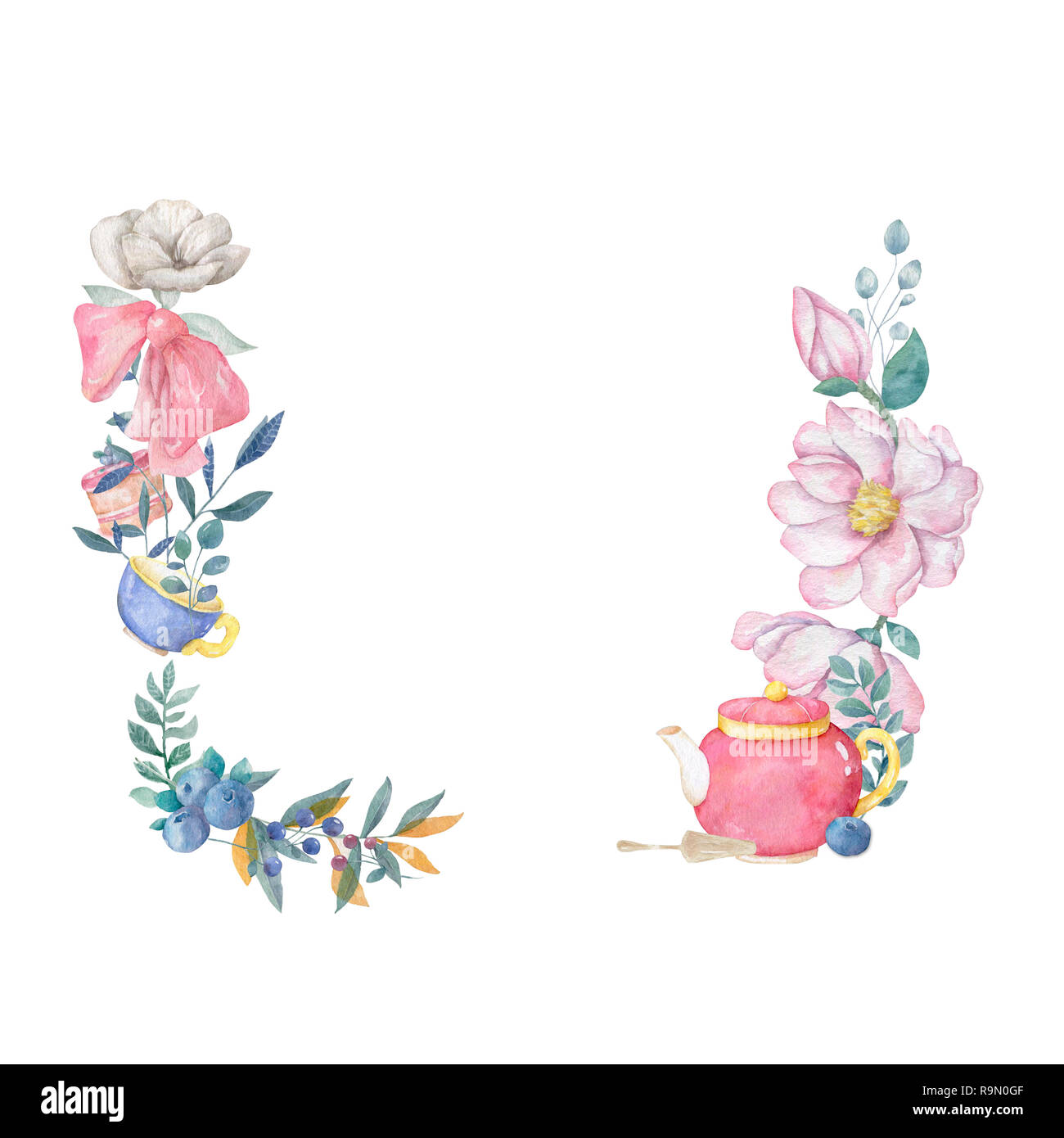 Watercolor pink flowers and leaves wreath Hand drawn illustration