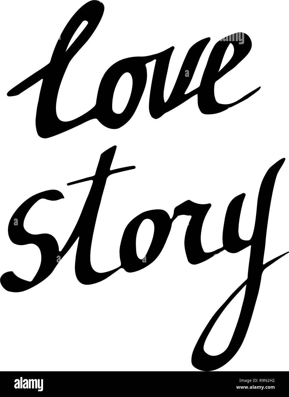 Vector Love story handwriting calligraphy. Isolated text illustration element. Black and white engraved ink art. - Stock Image
