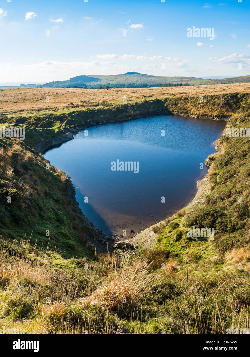 Crazywell Pool is a large pond on the western side of Dartmoor, near Burrator Reservoir.  It is a popular walking destination. - Stock Image