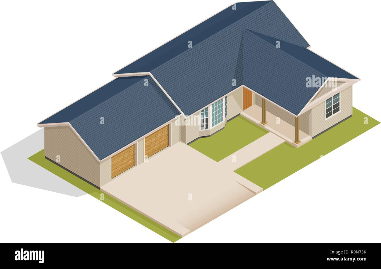 Vector isometric suburban house with double garage - illustration on white Stock Vector