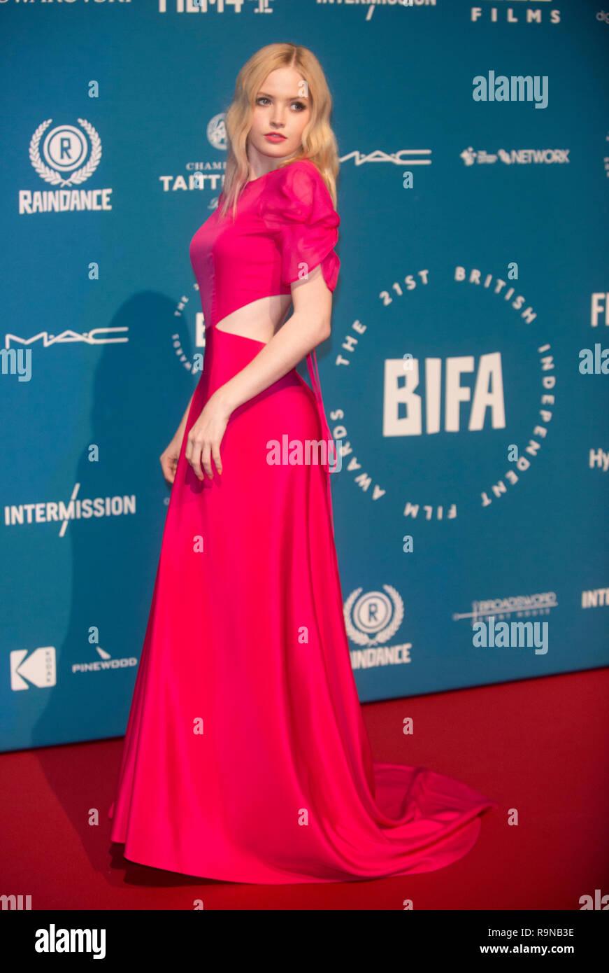Ellie Bamber at the 21ST BRITISH INDEPENDENT FILM AWARDS  at Old Billingsgate, London, photo by Bran Jordan - Stock Image