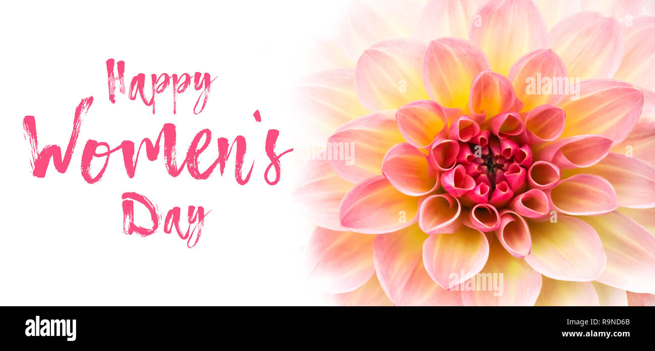 Happy Womens Day Text Message Lettering And Pink Yellow And White