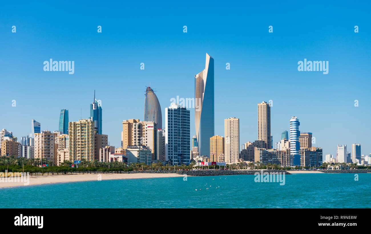 Daytime skyline of downtown Kuwait City in Kuwait, Middle East Stock